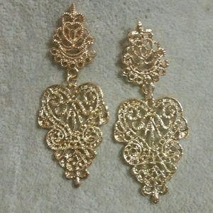 Gold, Filigree, Leaf-Like Earrings